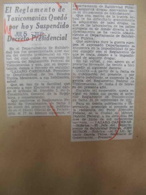Suspension of the Reglamento (Source: El Nacional Revolucionaria, July 5, 1940)